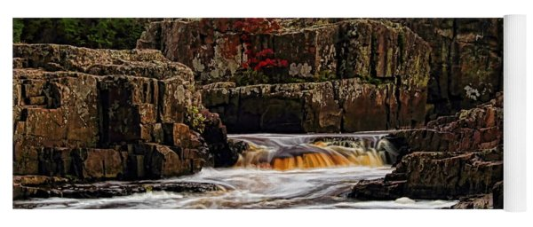 Waterfall Under Colored Leaves Yoga Mat