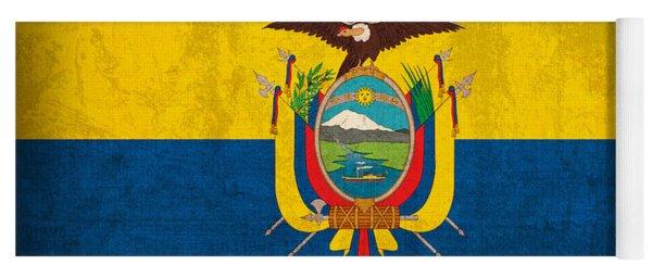 Ecuador Flag Vintage Distressed Finish Yoga Mat