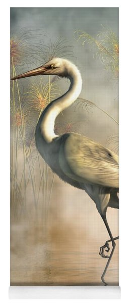 Yoga Mat featuring the digital art Egret by Daniel Eskridge