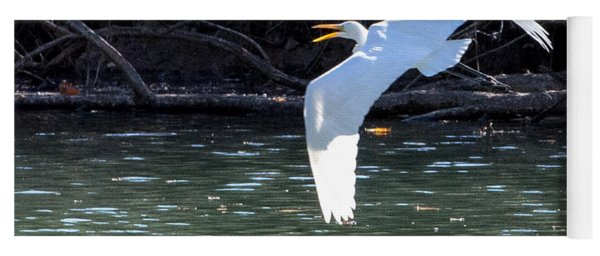 Egret In Flight Yoga Mat