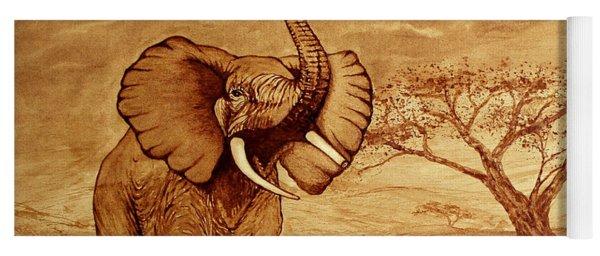 Elephant Majesty Original Coffee Painting Yoga Mat