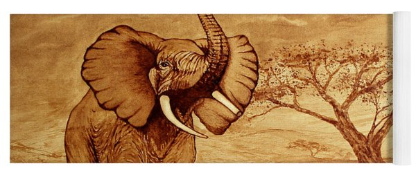 Elephant Majesty Original Coffee Painting Yoga Mat