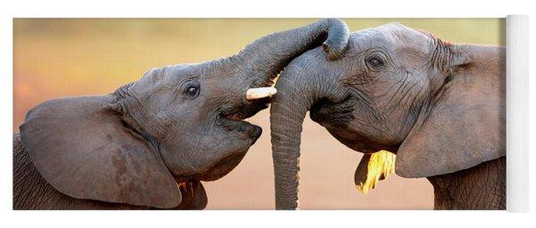 Elephants Touching Each Other Yoga Mat
