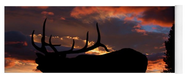Elk At Sunset Yoga Mat