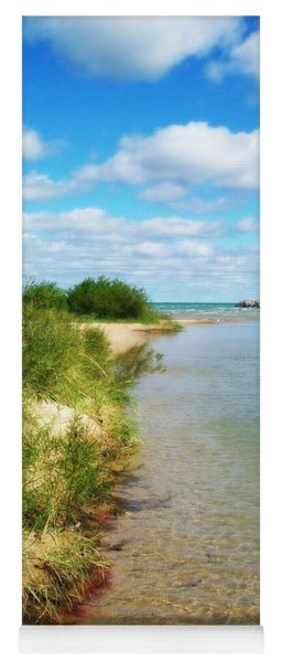 Elk River With Fluffy Clouds Yoga Mat