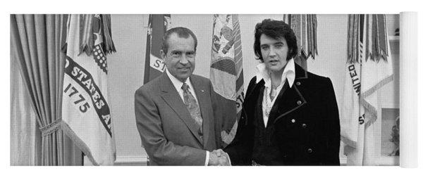 Elvis Presley And Richard Nixon-featured In Men At Work Group Yoga Mat