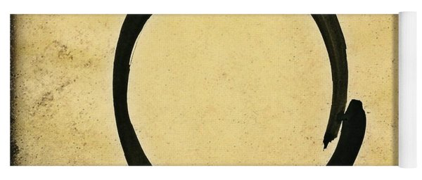 Enso #4 - Zen Circle Abstract Sand And Black Yoga Mat