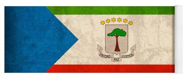 Equatorial Guinea Flag Vintage Distressed Finish Yoga Mat