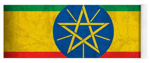 Ethiopia Flag Vintage Distressed Finish Yoga Mat