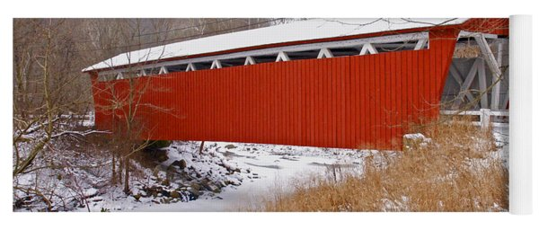 Everett Rd. Covered Bridge In Winter Yoga Mat