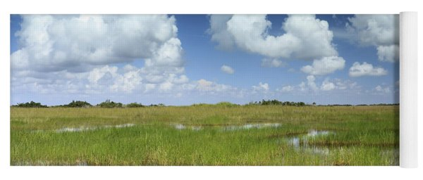 Everglades Landscape With Clouds Reflection Yoga Mat
