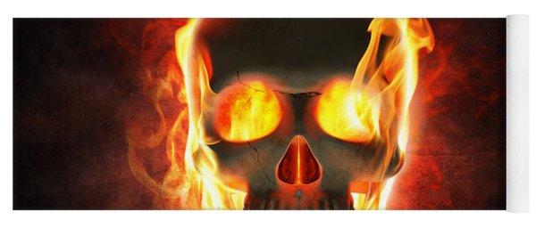 Evil Skull In Flames And Smoke Yoga Mat