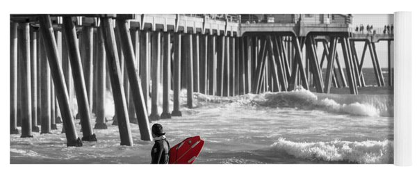 Existential Surfing At Huntington Beach Selective Color Yoga Mat
