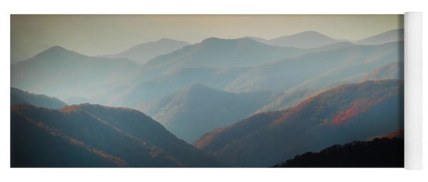 Fall Foliage Ridgelines Great Smoky Mountains Painted  Yoga Mat