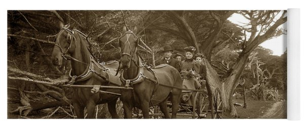 Family Out Carriage Ride On The 17 Mile Drive In Pebble Beach Circa 1895 Yoga Mat