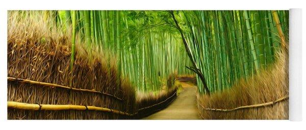 Famous Bamboo Grove At Arashiyama Yoga Mat