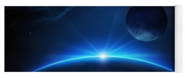 Fantasy Earth And Moon With Sunrise Yoga Mat