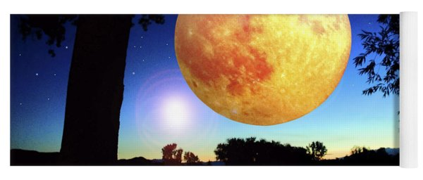 Fantasy Moon Landscape Digital Art Yoga Mat