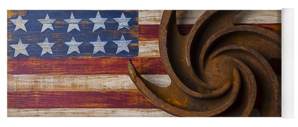 Farming Tool On American Flag Yoga Mat