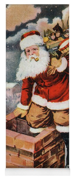 Father Christmas Popping Down The Chimney To Deliver Gifts To The Good.  Yoga Mat