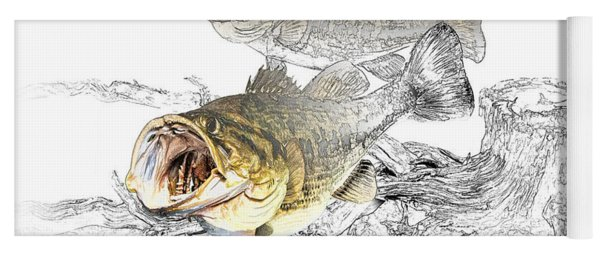 Feeding Largemouth Black Bass Yoga Mat