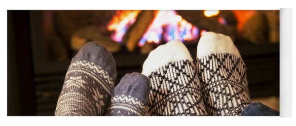 Feet Warming By Fireplace Yoga Mat