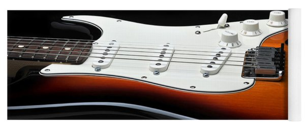 Fender Stratocaster Guitar On Black Background Yoga Mat
