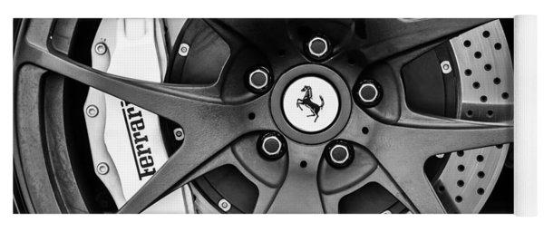Ferrari Wheel Emblem - Brake Emblem -0430bw Yoga Mat