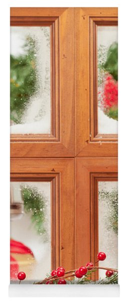 Festive Christmas Window Yoga Mat