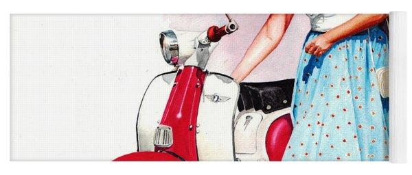 Fifties Lambretta Girl Yoga Mat