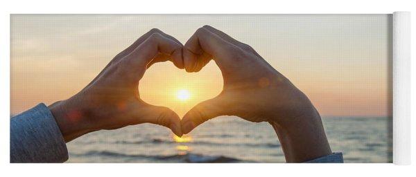 Fingers Heart Framing Ocean Sunset Yoga Mat
