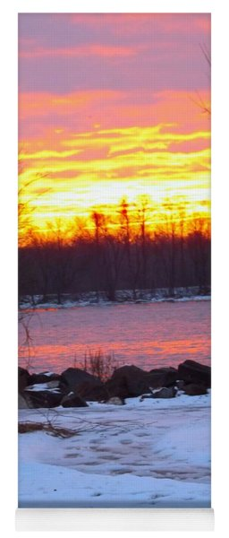 Fire And Ice Sunrise On The Delaware River Yoga Mat