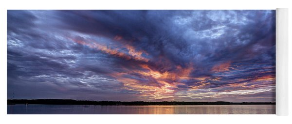 Fire In The Sky Sunset Over The Lake Yoga Mat