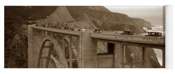 First Cars Across Bixby Creek  Bridge Big Sur California  Nov. 1932 Yoga Mat