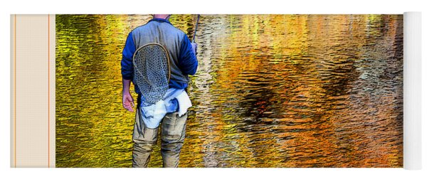 Fisherman In Autumn Yoga Mat