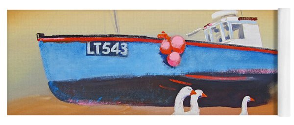 Fishing Boat Walberswick With Geese Yoga Mat