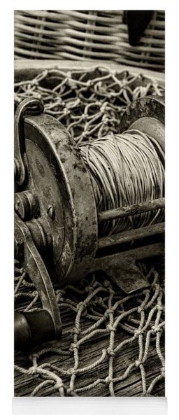 Fishing - That Old Fishing Reel In Black And White Yoga Mat
