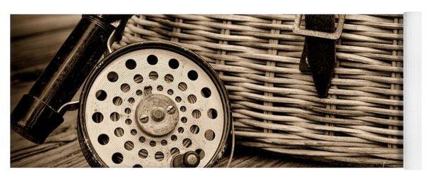 Fishing - Vintage Fly Fishing - Black And White Yoga Mat