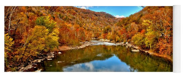 Flaming Fall Foliage At New River Gorge Yoga Mat