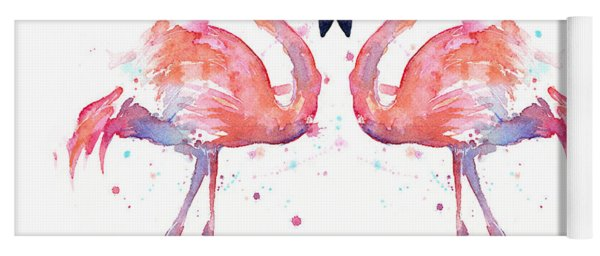 Flamingo Love Watercolor Yoga Mat