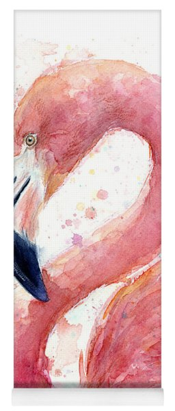Flamingo Watercolor Painting Yoga Mat