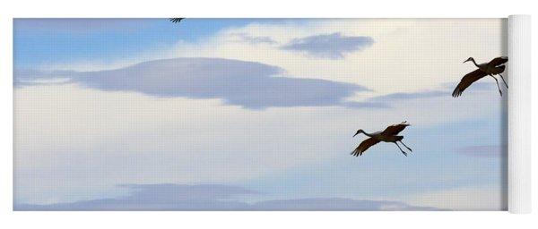 Flight Of The Sandhill Cranes Yoga Mat