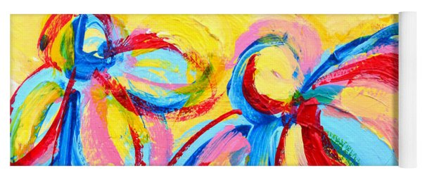 Abstract Flowers Silhouette No 12 Yoga Mat