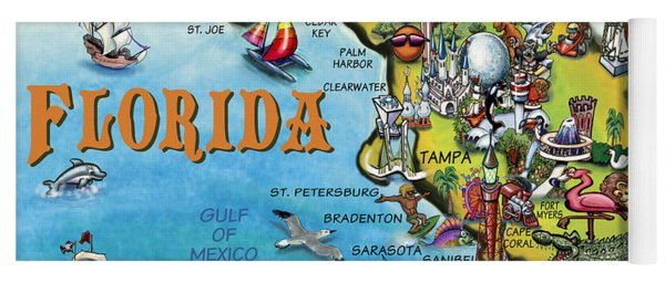 Florida Cartoon Map Yoga Mat