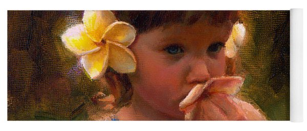 Flower Girl - Tropical Portrait With Plumeria Flowers Yoga Mat