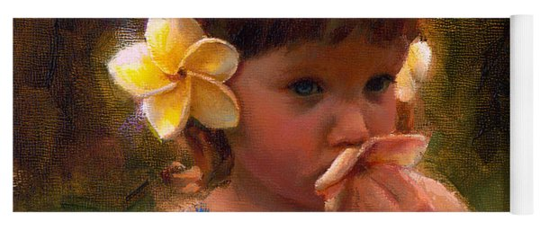 Flower Girl - Tropical Portrait With Plumeria Flowers Yoga Mat