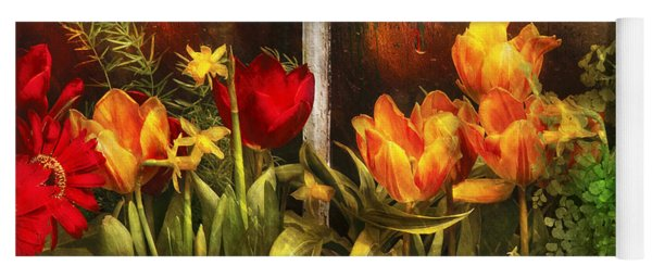 Flower - Tulip - Tulips In A Window Yoga Mat