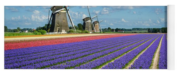 Landscape In Spring With Flowers And Windmills In Holland Yoga Mat