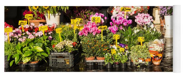 Flowers For Sale At Campo De Fiori - My Favourite Market In Rome Italy Yoga Mat