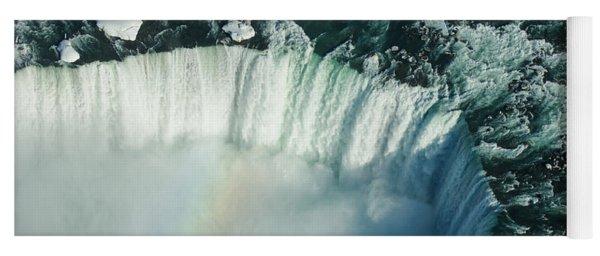 Flying Over Icy Niagara Falls Yoga Mat
